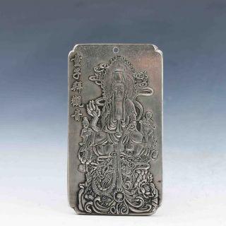 Tibet Silver Handwork Carved A Buddism Godness Guanyin Pendant Statue G872 photo