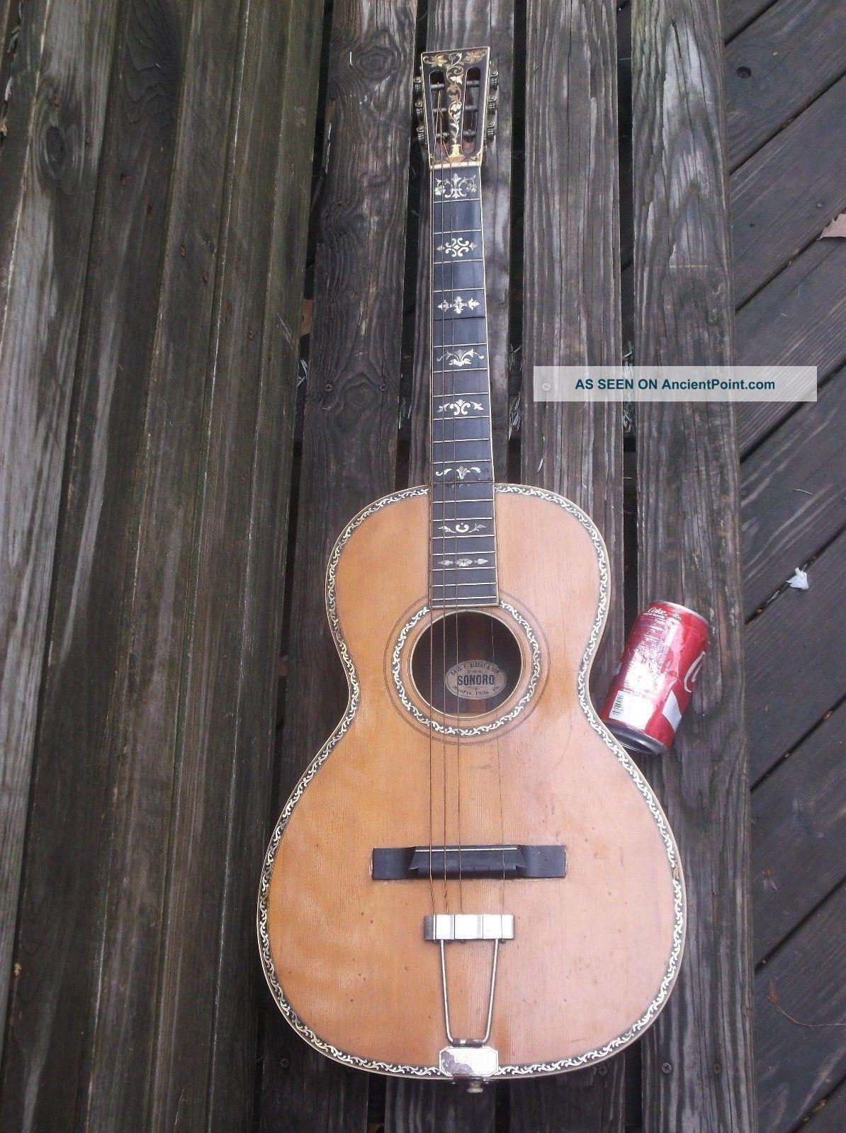 Antique 1880 Louis Charles Albert Pa Vintage Parlor Guitar C  F