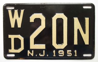 Jersey 1951 License Plate Pair,  Warren County,  Wd 20n - High Gloss Beauties photo