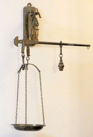 Antique Old Hanging Metal Cast Iron Balance Scale - Miniature photo