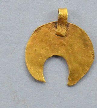 Viking Lunnar Moon - Shaped 24k Gold Pendant photo