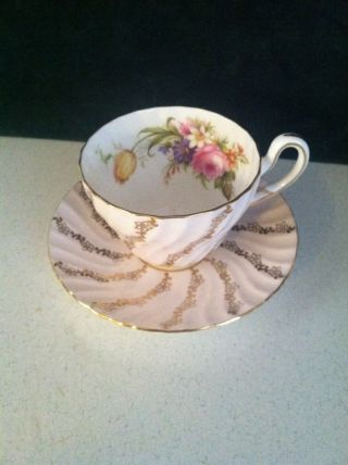 1850 Eb Foley Bone China Cup & Saucer Rose White Gold Floral Trim 3236 England photo
