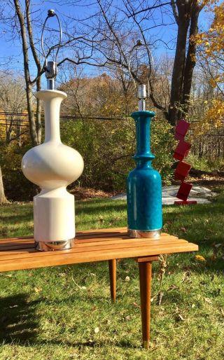 Pair Vintage Glazed Ceramic Sculpture Lamps Rimini Blue Raymor Era Mid Century photo
