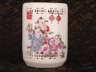 East Good Luck Fine Porcelain Fuwa Dotted Pen Container Vase Collectable photo