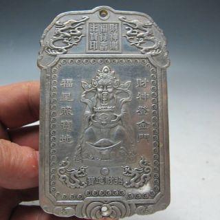 Old Tibetan Tibet Silver Wealth Buddha Statue Gd9129 photo