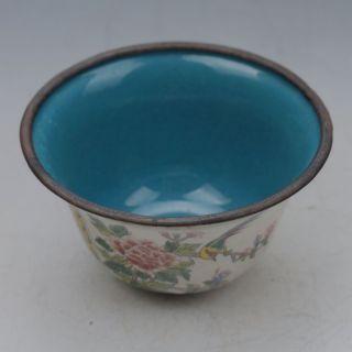 Chinese Collectable Cloisonne Handwork Bird & Flower Bowl W Qianlong Mark G065 photo