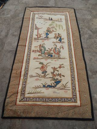 Antique Chinese Hand Embroidery Silk Wall Hanging Tapestry/panel 60x31cm (x121) photo