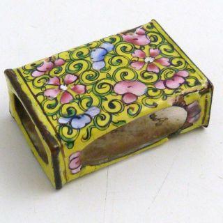 Chinese Canton Enamel Small Matchbox Holder,  19th Century photo