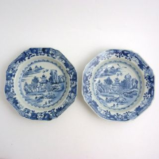 Pair 18th Century Chinese Blue And White Porcelain Octagonal Soup Plates photo