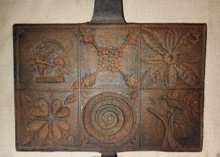 Aafa 1800s Cast Iron Pizzelle Waffle Pancake Griddle Mold Iron 6 Patterns photo