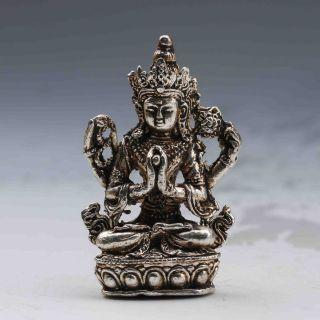 Tibet Silver Handwork Carved Buddha Satue Gd9799 photo