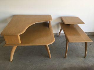 2 - Vintage Heywood Wakefield Danish Modern Two Tier Solid Wood Corner End Tables photo