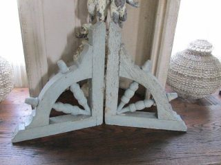 Awesome 2 Old Architectural Corbels Or Brackets Chippy Blue Paint Patina photo