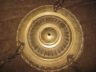Antique Vintage 1920 ' S Brass Pan Light Fixture Chandelier 3 Pull Chain Sockets photo