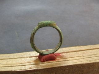 Green Patina Ancient Celtic Roman Bronze Finger Ring 1 - 2 Ct.  Ad. photo