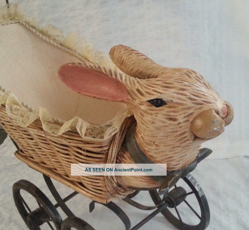 Antique Iron Bunny Rabbit Head Wicker Babydoll Stroller Buggy - Baby Carriages & Buggies photo