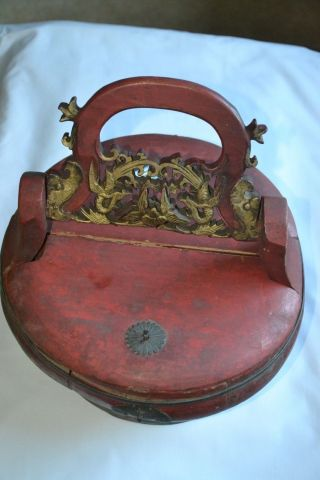 Large Antique Chinese Asian Carved Wood Wooden Rice Bucket Pail Basket C1860 photo