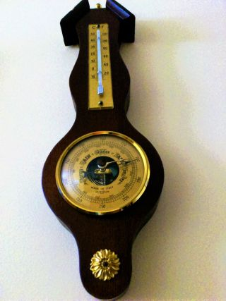 """Vintage Wall Barometer &thermometer """"made In Italy"""" photo"""