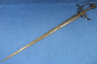 Rare Antique Italian Sword From 2nd Half 15th Century (ancestor Of The Rapier) photo