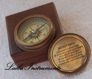 Antique Compass Vintage Compass Brass Compass Engraved Compass W/wood Case Gift photo