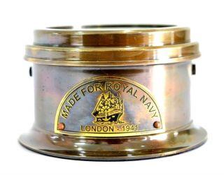 Vintage Large Ship London 1914 Brass Antique Drum Style Compass photo