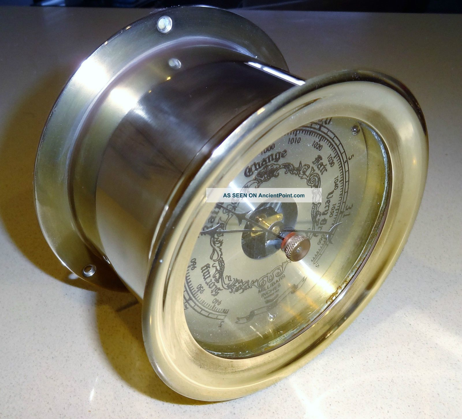Vintage Solid Brass Ship ' S Barometer Perfect Order. Ship Equipment photo