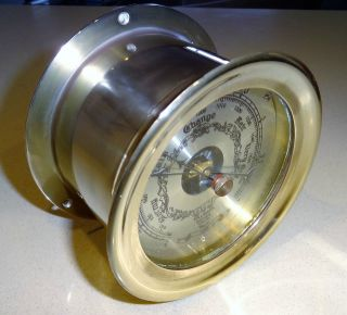 Vintage Solid Brass Ship ' S Barometer Perfect Order. photo