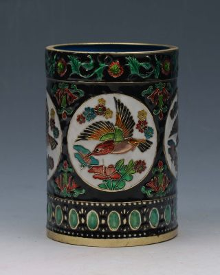 Old Peiking Cloisonne Hand - Painted Bird&flower Pen Container G120 photo