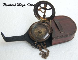 Brass Solid Push Button Neckless Sundial Compass With Leather Box,  Vintage photo