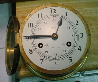 Shatz Large Ships Bell Clock,  8 Day Key Wind,  Strong Runner photo