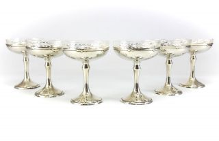 6pc Shreve & Co.  Sterling Silver & Glass Lined Compotes C1900 Hand Hammered photo