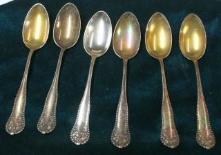 "6 Gorham 1897 Lancaster Sterling Silver Demitasse Spoons 5.  25"" Rw photo"