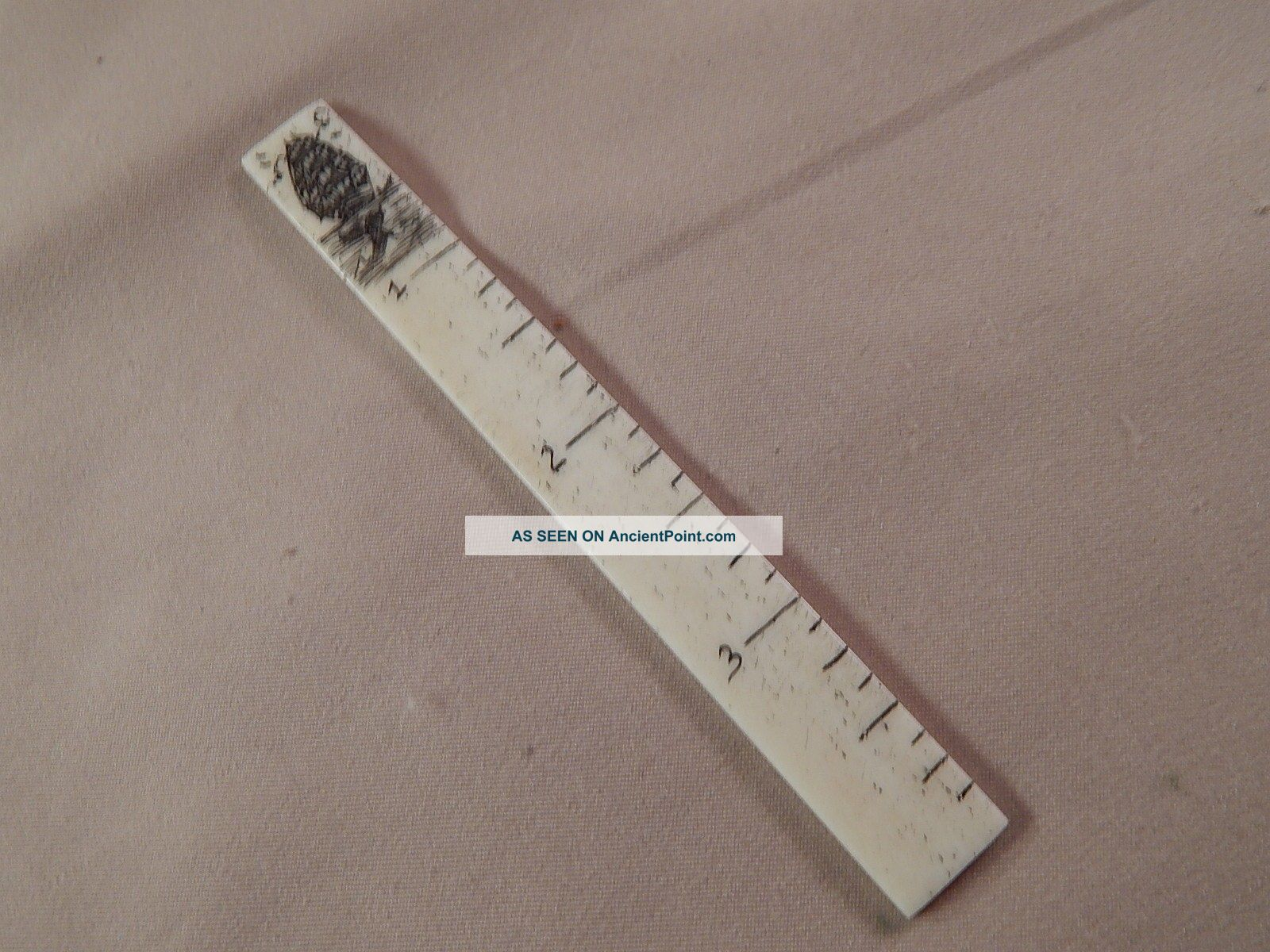 Scrimshaw Bovine Bone Sewing Ruler - Ship - Whale Tail Scrimshaws photo
