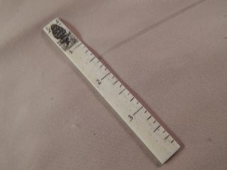 Scrimshaw Bovine Bone Sewing Ruler - Ship - Whale Tail photo