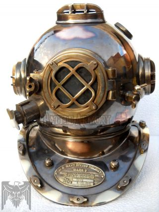 Boston Mass U.  S Navy Mark V Diving Divers Helmet Solid Copper & Brass Full Size photo
