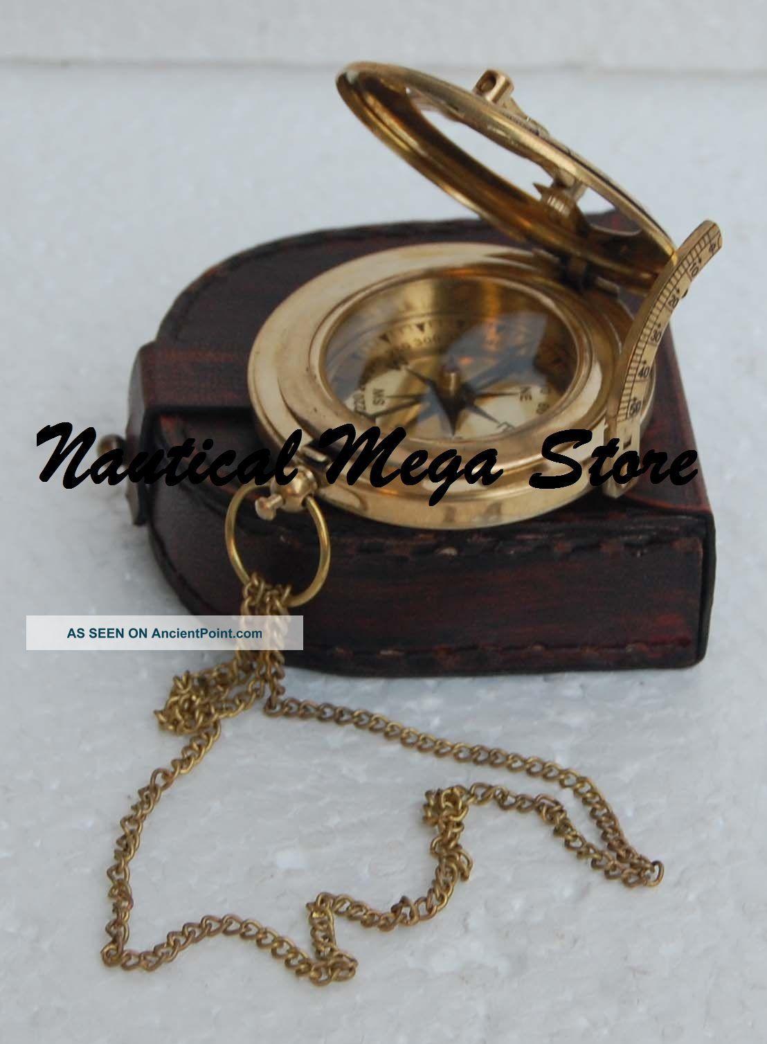 Brass Polish Antique Brass Sundial Compass Vintage Push Nautical Button Decor Compasses photo
