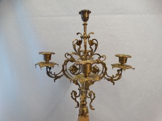 Antique Art Nouveau Floral Onyx & Brass Ormolu Flower Candlestick Old Candelabra photo