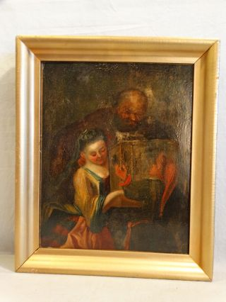 18thc Antique Medieval Lady & Gentleman W Gift Monk Oil On Wood Panel Painting photo