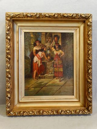 19thc Antique Victorian Era Egyptian Revival Old Outdoor Scene Oil Lady Painting photo