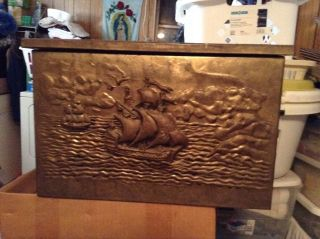 Antique Embossed Hammered Brass Trunk/chest - England photo