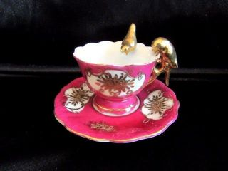 Fairyland Japan Mini Twin Parrot Bird Handle Hand Painted Footed Cup And Saucer photo