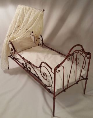 Antique - Doll - Folding - Wrought Iron Scroll Work Bed W/canopy - Red Paint C.  1890 - 1910 photo