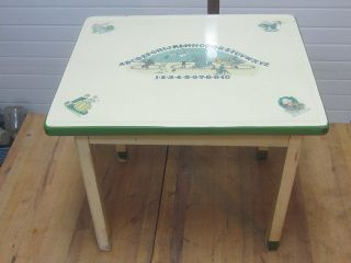 Antique Enamel Child ' S Baking Table With Nursery Rhymes,  Numbers,  Abc & Circus photo