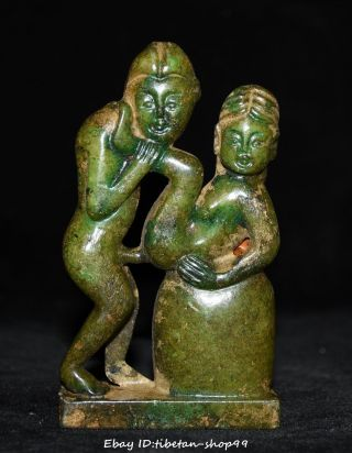 Antique China Old Jade Pure Hand - Carved People Woman Man Make Love Shunga Statue photo