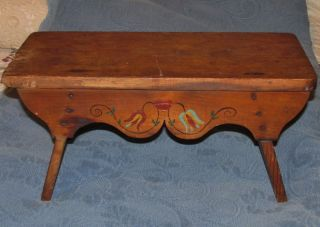 Antique Wooden Folk Art Decorated Footstool Or Bench photo