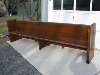 Antique Oak,  Andes N.  Y.  Church Pew Bench 10 1/2 Feet Long photo