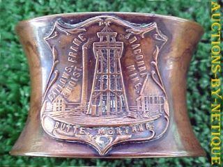 Antique Mt Anaconda Mine Butte Montana Copper Napkin Ring Maker K & O Co Ny photo