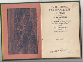 1922 Internal Uncleanliness Of Man.  Arnold Ehret.  Diet,  Detoxification,  Quackery photo