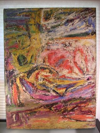 Vintage 1950 ' S Nyc Abstract Expressionist Oil Painting De Kooning Pollock 40