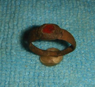 Stunning Wearable Ancient Roman Bronze Ring Red Gem 1 - 3rd Century Ad Ref.  508 photo
